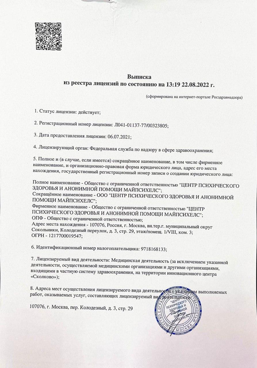 Лицензия на право предоставления медицинских услуг